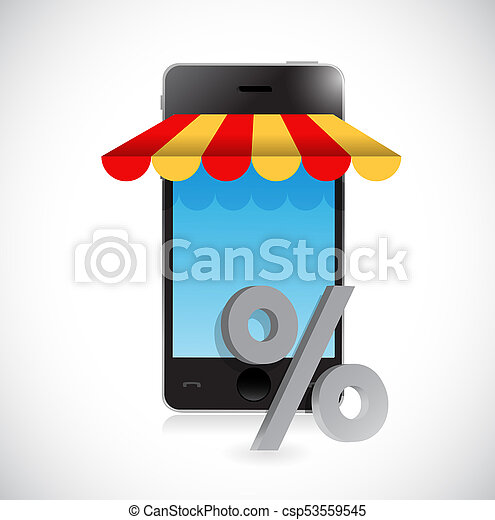 online mobile shopping store percentage symbol - csp53559545