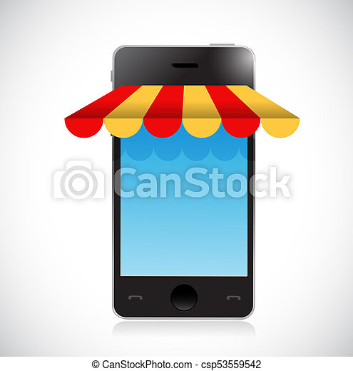 online mobile shopping store tent illustration - csp53559542