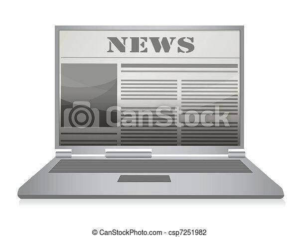 Line Art Laptop : Online newspaper laptop and news website vector illustration