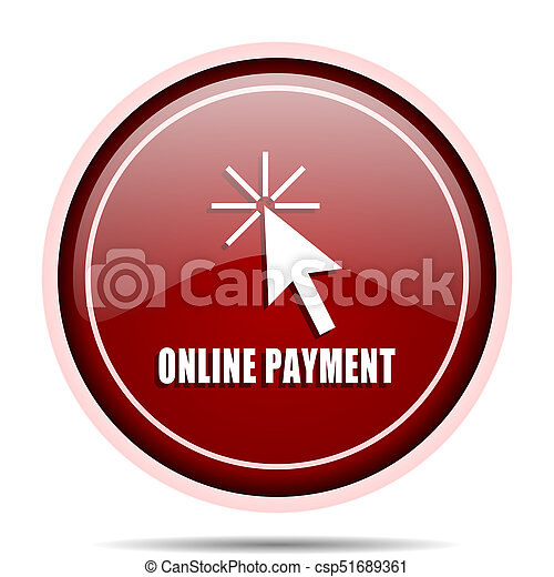 Online payment red glossy round web icon. Circle isolated internet button for webdesign and smartphone applications. - csp51689361