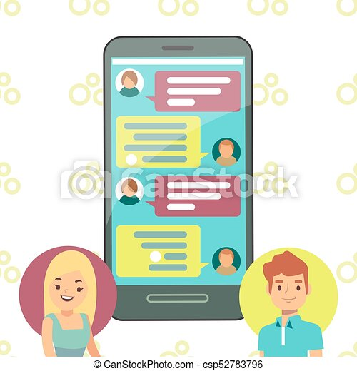 online phone chat concept girl and boy cell chatting boy rh canstockphoto com cat clip art outline chart clip art