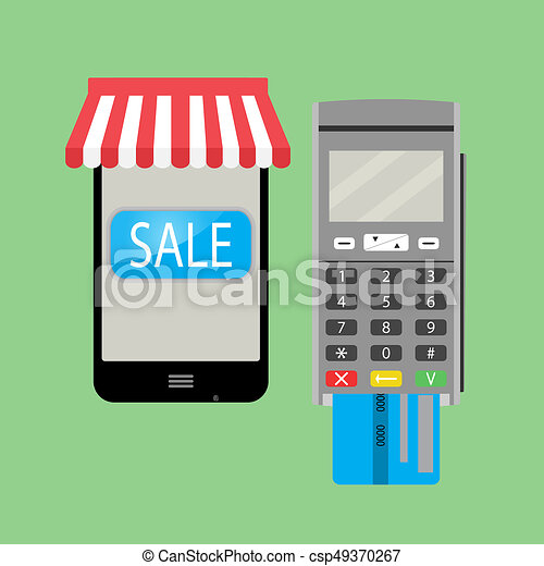6f124ae4b49 Online purchase with smartphone and credit card. online shopping ...