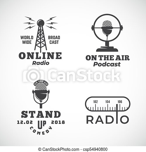 Online radio and microphone abstract vector emblems set. broadcast ...
