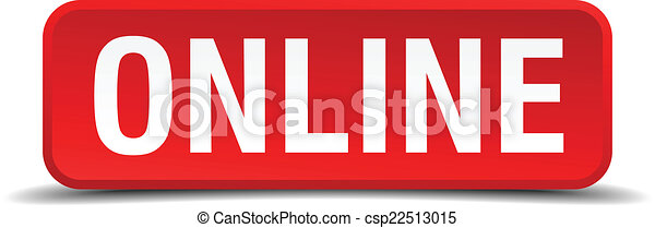 Online red 3d square button isolated on white - csp22513015