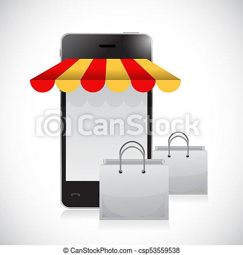 online shop and bags illustration design - csp53559538