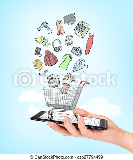 Online shop concept. Female hand holding a phone on which stands empty shopping cart with colorful drawing goods. E-commerce. - csp27794499