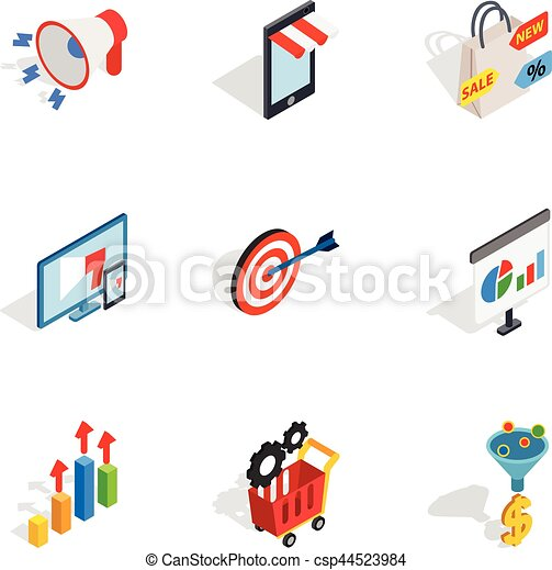 Online shop icons, isometric 3d style - csp44523984