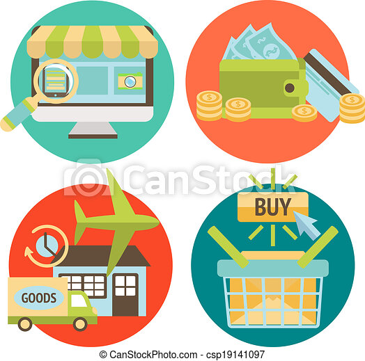 Online Shopping Business Icons Set - csp19141097