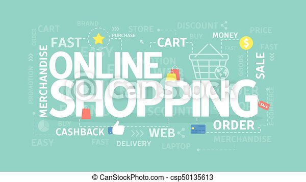 Online Shopping Concept Online Shopping Concept Illustration With Words And People