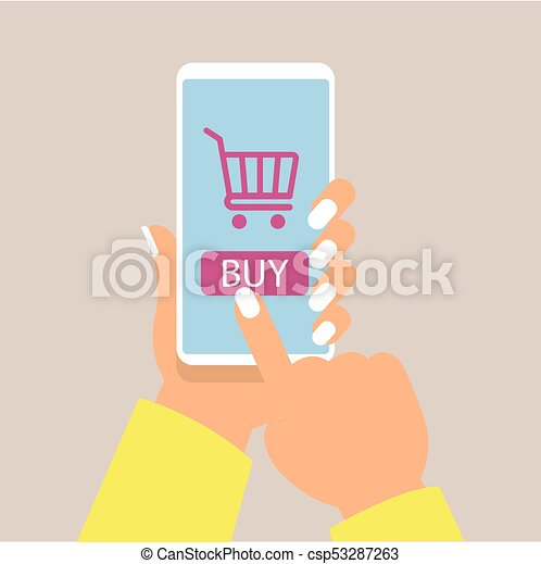 106e4db41bb Online Shopping Concept With Women Hand Holding Smartphone And Online Shop  Icons Vector