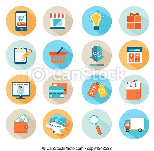 Online shopping icon set - csp34942592