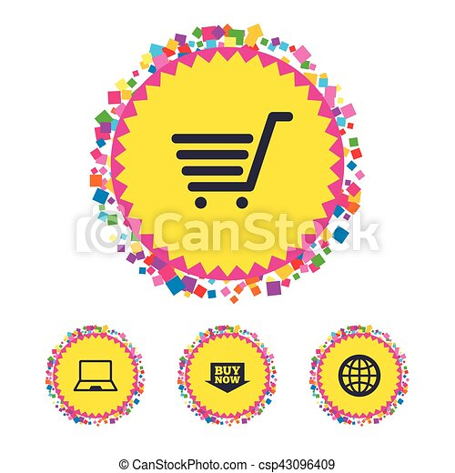Online shopping icons. Notebook pc, cart, buy. - csp43096409
