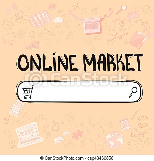 Online shopping market application interface concept doodle hand ...