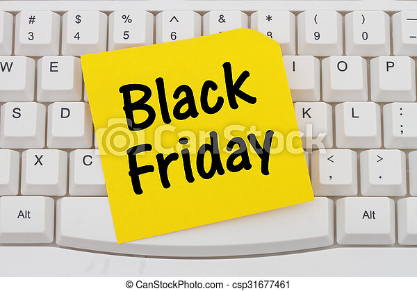 Online shopping on Black Friday, computer keyboard and sticky note - csp31677461