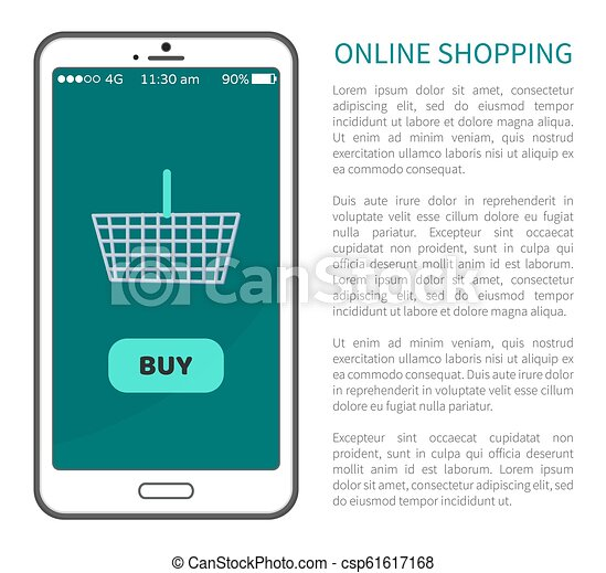 c5120d389c1 Online shopping poster mobile phone and basket. Online shopping ...
