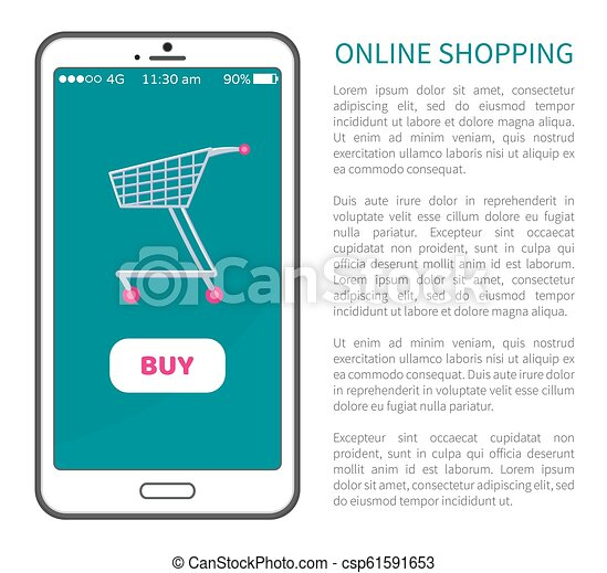 fb71d1b856c Online shopping poster with mobile phone and cart. Online shopping ...