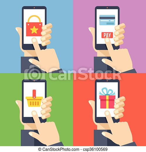 383eb01c50b Online shopping smartphones set. Hands with smartphones 4 banners ...
