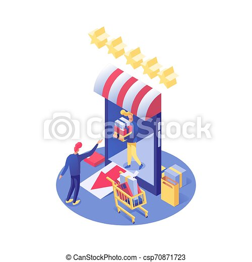 Online shopping vector isometric illustration. E-commerce, e-trading and consumerism, shopper buying products in Internet store isolated clipart. Buyer and seller cartoon 3d characters - csp70871723