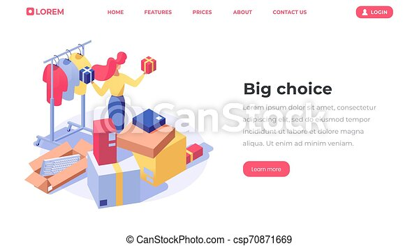 Online store choice isometric landing page. Customer buying products, female seller, shop assistant offering goods 3d character. Clothes shop, fashion boutique assortment web banner template - csp70871669