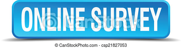 online survey blue 3d realistic square isolated button - csp21827053