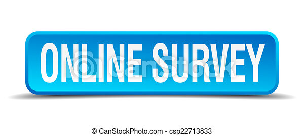 online survey blue 3d realistic square isolated button - csp22713833