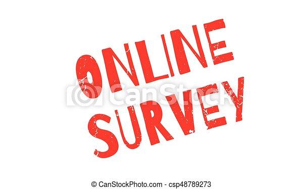 Online Survey rubber stamp - csp48789273