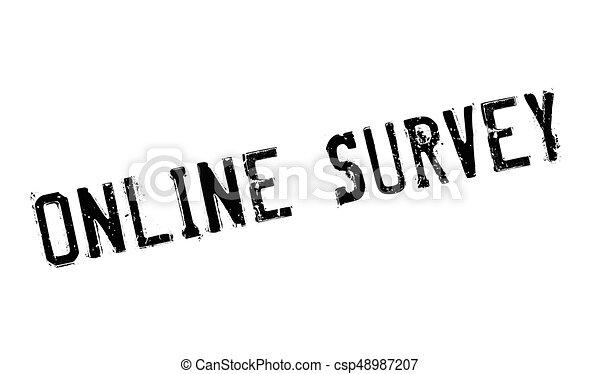 Online Survey rubber stamp - csp48987207