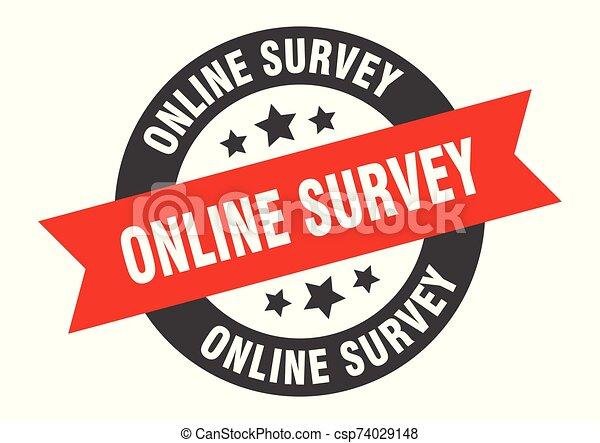 online survey sign. online survey black-red round ribbon sticker - csp74029148
