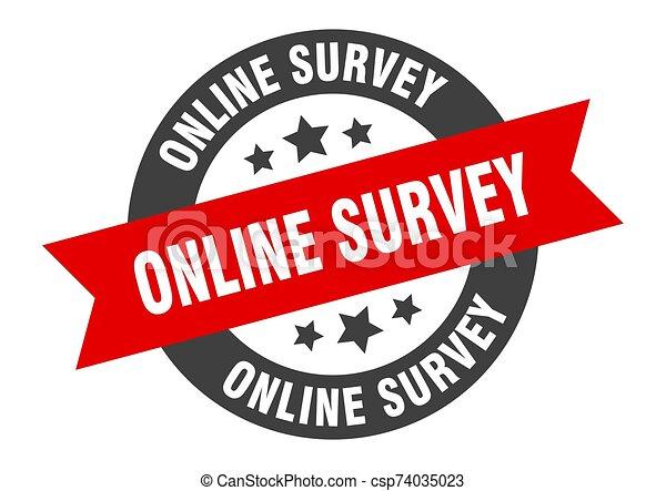 online survey sign. online survey black-red round ribbon sticker - csp74035023