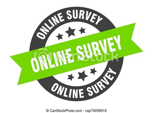 online survey sign. online survey black-green round ribbon sticker - csp74039916