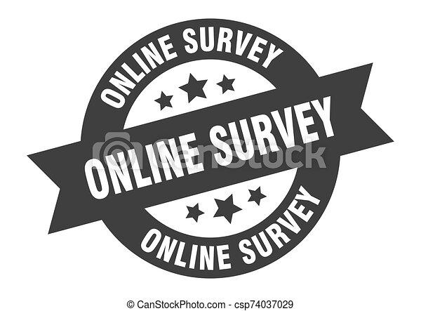 online survey sign. online survey black round ribbon sticker - csp74037029