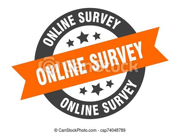 online survey sign. online survey orange-black round ribbon sticker - csp74048789