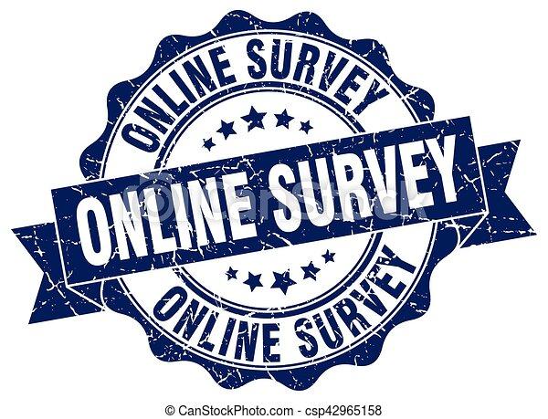 online survey stamp. sign. seal - csp42965158
