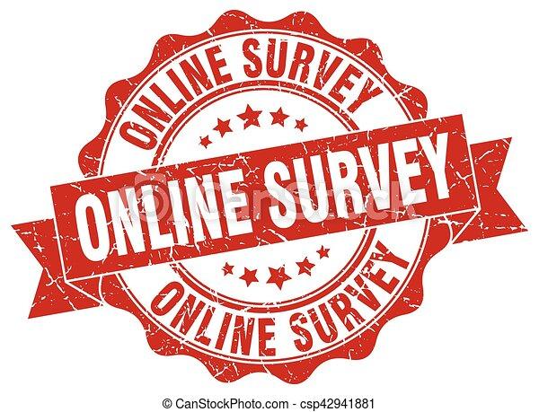 online survey stamp. sign. seal - csp42941881