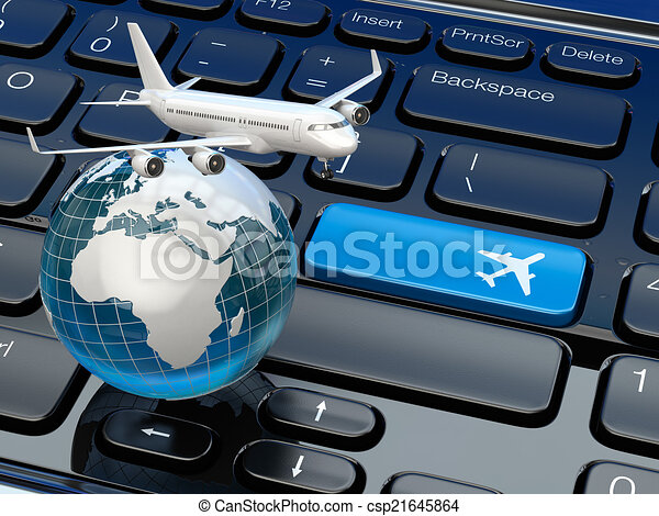 Online Ticket Booking Airplane And Earth On Laptop Keyboard 3d