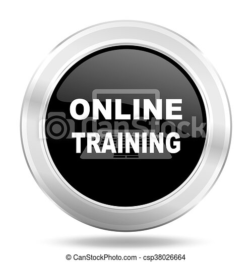 online training black icon, metallic design internet button, web and mobile app illustration - csp38026664