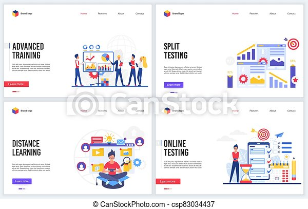 Online Training Education Technology Vector Illustration Set With Flat Cartoon Educational Tech Courses Or School Split
