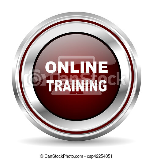 online training icon chrome border round web button silver metallic pushbutton - csp42254051