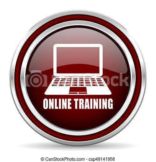 Online training red glossy icon. Chrome border round web button. Silver metallic pushbutton. - csp49141958