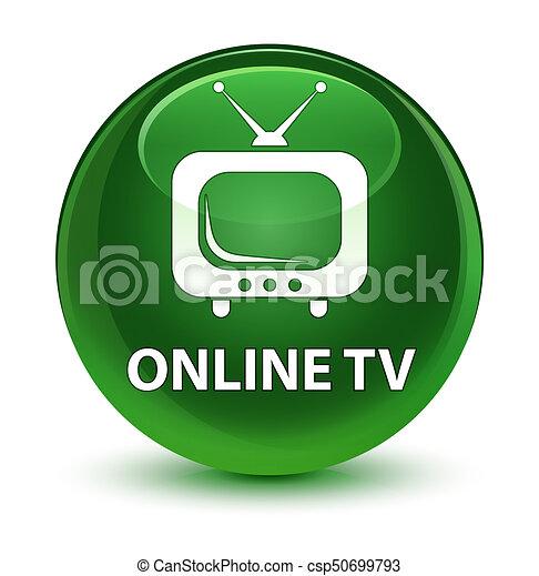 Online tv glassy soft green round button - csp50699793