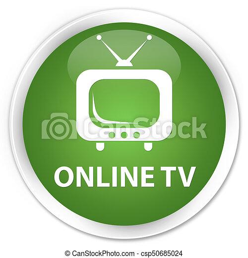 Online tv premium soft green round button - csp50685024