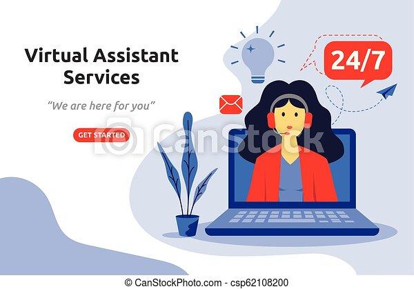 Online virtual assistant services concept modern flat design. Vector illustration - csp62108200