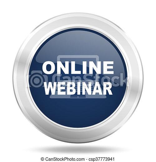 online webinar icon, dark blue round metallic internet button, web and mobile app illustration - csp37773941