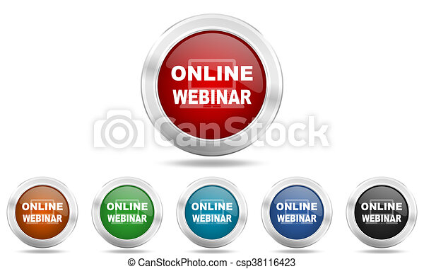 online webinar round glossy icon set, colored circle metallic design internet buttons - csp38116423