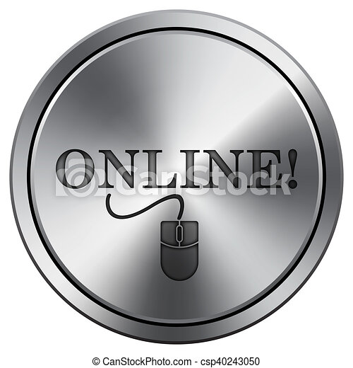 Online with mouse icon. Round icon imitating metal. - csp40243050