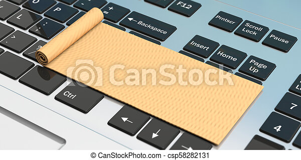 Online Yoga Exercise Mat On Computer Keyboard 3d Illustration Online Yoga Classes Exercise Mat On Computer Keyboard Copy