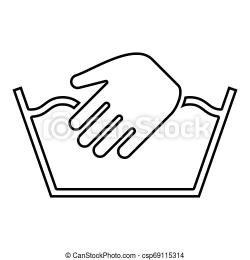 Only manual wash Clothes care symbols Washing concept Laundry sign icon outline black color vector illustration flat style image - csp69115314
