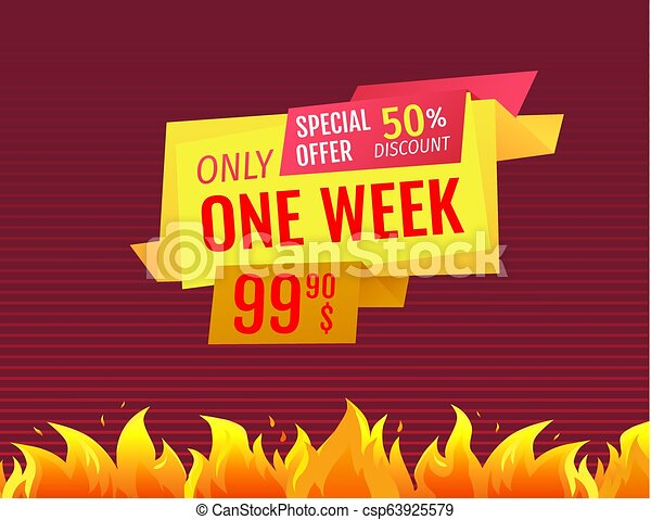 f0a3f91f6469 Only one week special offer sale label final price. Only one week ...