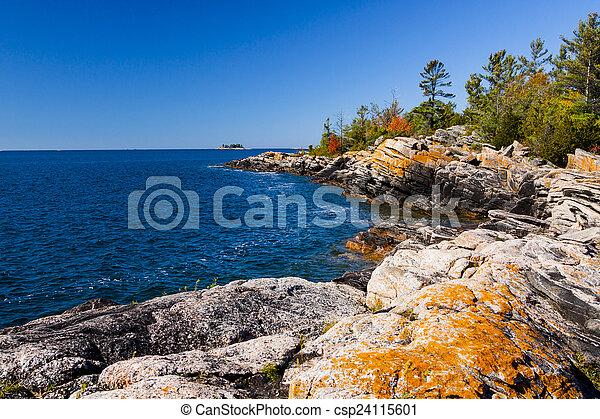 ontario, shoreline, settentrionale, scenico, isola, piccolo - csp24115601