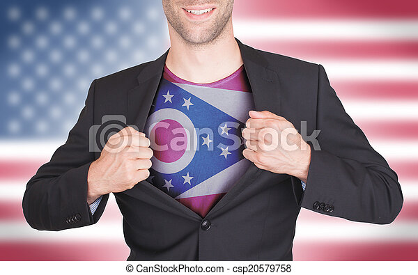 onthullen, hemd, opening, staatsvlag, kostuum, zakenman - csp20579758